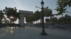 Triumphal Arch and Avenue Champs-Elysees Stock Footage