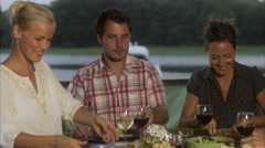 Four friends having dinner, Sweden. Stock Footage