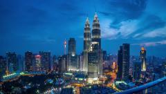 Sunset Time Lapse at Petronas Twin Towers, Kuala Lumpur, Malaysia. - stock footage