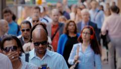 Crowd in New York City, business people going at work Stock Footage