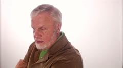An serious elderly scandinavian man, Sweden. - stock footage