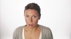 A Scandinavian woman looking sceptical, Sweden. Stock Footage