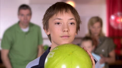 A family bowling, Sweden. Stock Footage