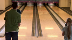 Father and daughter bowling, Sweden. Stock Footage