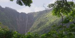 Big Island Hawaii, Tropical Weather, Waipio Mountains and Valley, Kohala Coast - stock footage