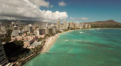 Aerial Shoot Kahanamoku Beach. Waikiki.  Island O'ahu. Hawaii. Stock Footage
