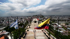 Guayaquil Flags and Church Stock Footage