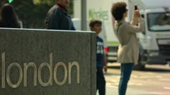 London mark with tourists Stock Footage