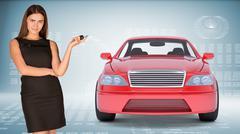 Businesslady holding car key Stock Photos