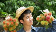 Young Asian farmer holding rambutan on his farm in Thailand Stock Footage