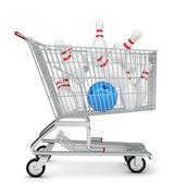 Skittle and bowling ball in shopping cart - stock illustration