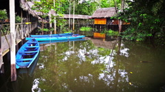 Canoes and Jungle Lodge Stock Footage