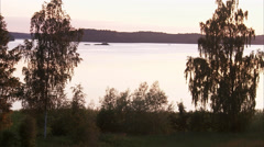A lake in the evening, Sweden. - stock footage