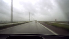 A car drive in bad weather, Oresundsbron, Sweden. Stock Footage