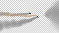 3 Fighter Jets Fly By With Vapor Trails - 3D Model With Alpha Channel Stock Footage