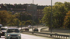 Traffic on a bridge, Vasterbron, in Stockholm, Sweden. Stock Footage