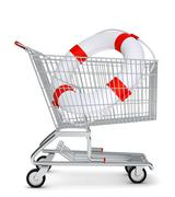 Lifebuoy in shopping cart - stock illustration