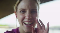 First person view of female making video call in slow motion Stock Footage