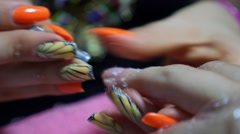 Manicure Process in Beauty Salon, Close Up Stock Footage