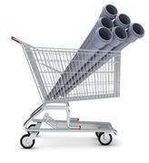 Sewer pipe in shopping cart - stock illustration