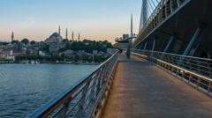 Golden Horn Metro bridge in the evening Stock Footage