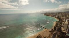 Aerial Shoot Kahanamoku Beach. Waikiki.  Island O'ahu. Hawaii. Stock Footage