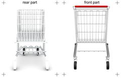 Rear and front parts of shopping cart on white - stock illustration