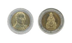 Stock Photo of Ten Baht Thailand coins limited edition.