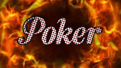 POKER Text and Fiery Ring, Loop, with Alpha Channel, 4k Stock Footage
