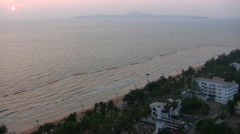 view of the coast of Pattaya during sunset from high point - stock footage
