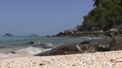 Waves spashing the rocks in Thailand Stock Footage