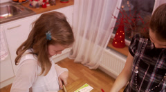 Girls making greeting cards, Sweden. Stock Footage