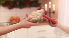 Girls exchanging Christmas presents, Sweden. Stock Footage
