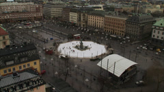 A skating-rink in the middle of Stockholm, Sweden. Stock Footage