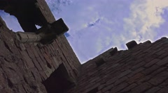 Castle wall blue sky clouds time lapse 3 Stock Footage
