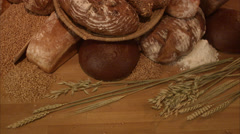 Newly baked bread. Stock Footage