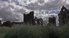 dark oppressive view of English ancient castle 2 - stock footage