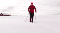 A cross country skier, Norrland, Sweden. Stock Footage