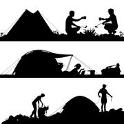 Camping foreground silhouettes Piirros