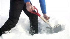 A man shovel snow, Sweden. Stock Footage