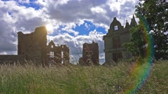Idyllic view of English ancient castle 1 Stock Footage
