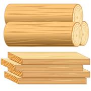 Boards and log - stock illustration