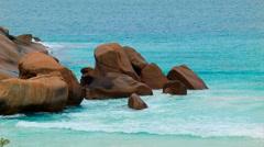 Rocks In Shallow Ocean Waters Stock Footage