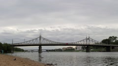 Starovolzhsky bridge over the river Volga in Tver, Russia. Timelapse Stock Footage