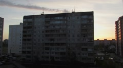 (Timelapse) Sunset in a residential area of Tver, Russia Stock Footage