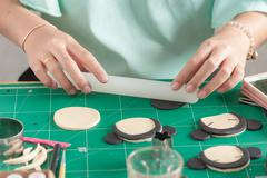 Making of fondant cake - stock photo