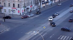 Cars on Tverskoy Prospekt at evening, top view Stock Footage