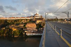 Ponte Luis I and Serra do Pilar at Sunset in Portugal - stock photo
