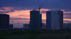 Sunset landscape with a building site of a modern residential complex Stock Footage