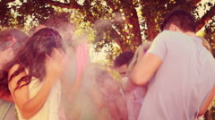 Happy friends throwing powder paint in the park Stock Footage